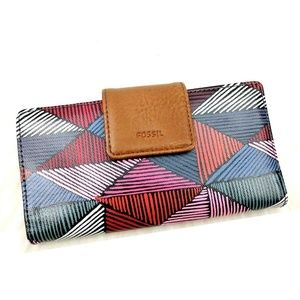Fossil Faux Leather Striped Diamond Print Wallet